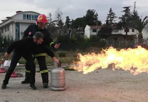 yangın söndürme tatbikatı